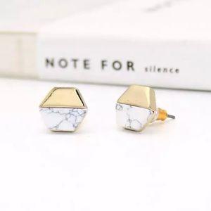 Minimalistic Marble Like Gold Stud Earrings